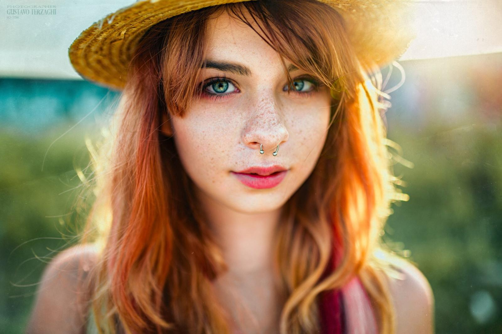 Wallpaper Face Women Model Nose Rings Long Hair: Wallpaper : Face, Women, Redhead, Model, Nose Rings, Long