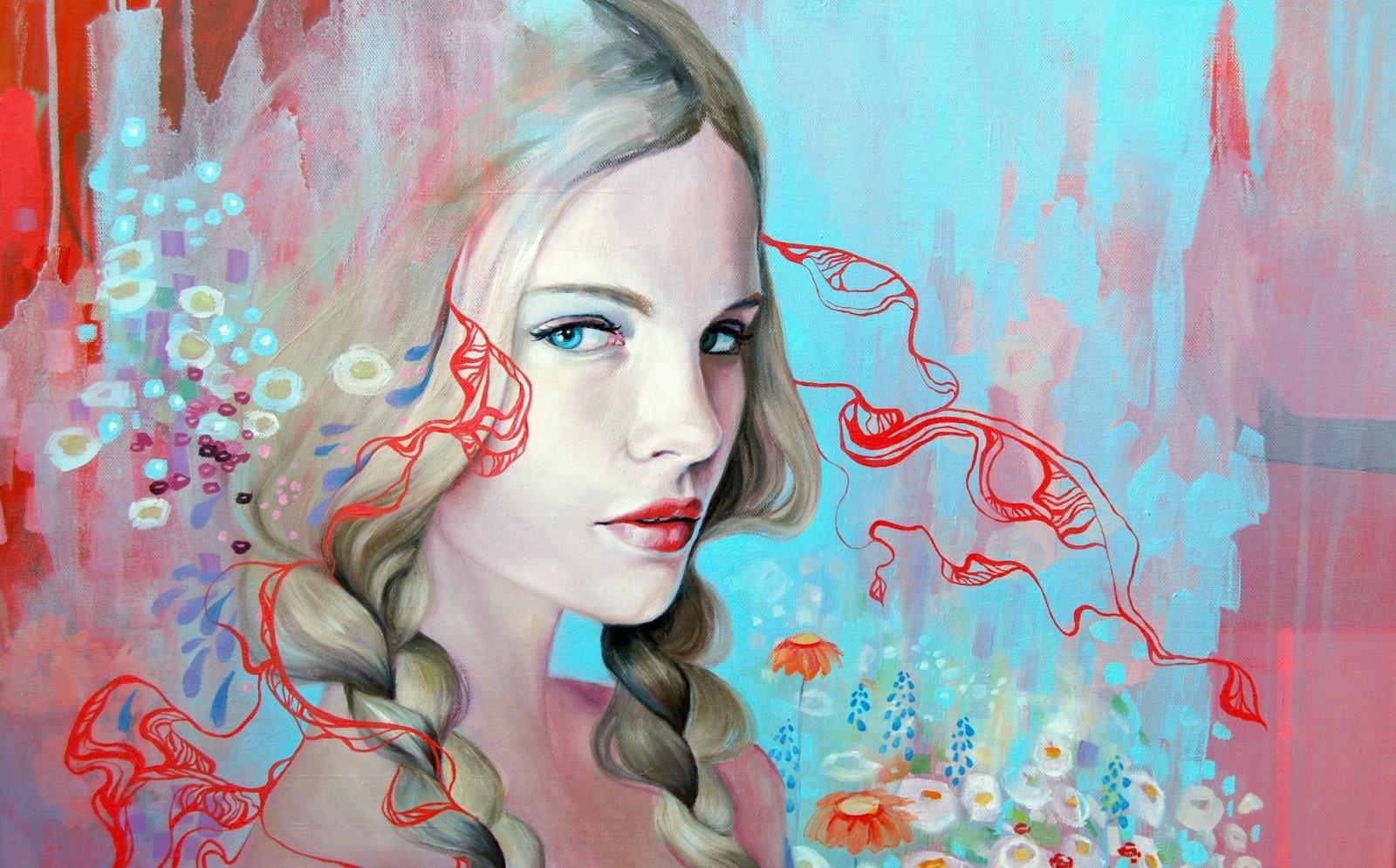 Fond d'écran : visage, dessin, La peinture, illustration, femmes, blond, yeux bleus, ouvrages d ...