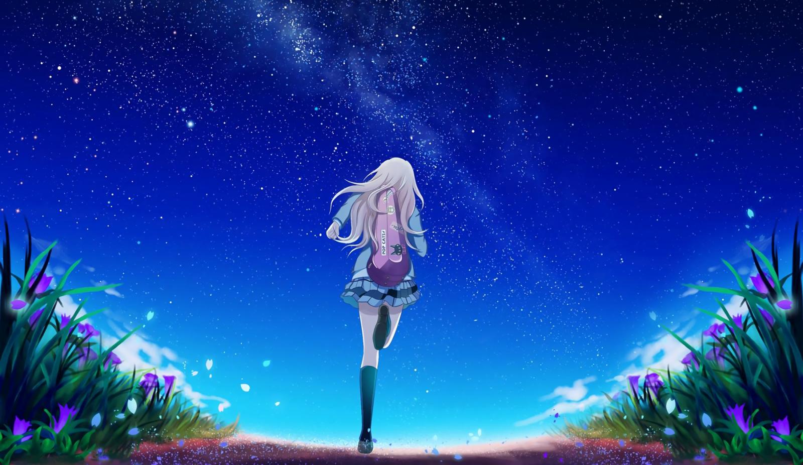 Wallpaper Night Shigatsu Wa Kimi No Uso Aurora