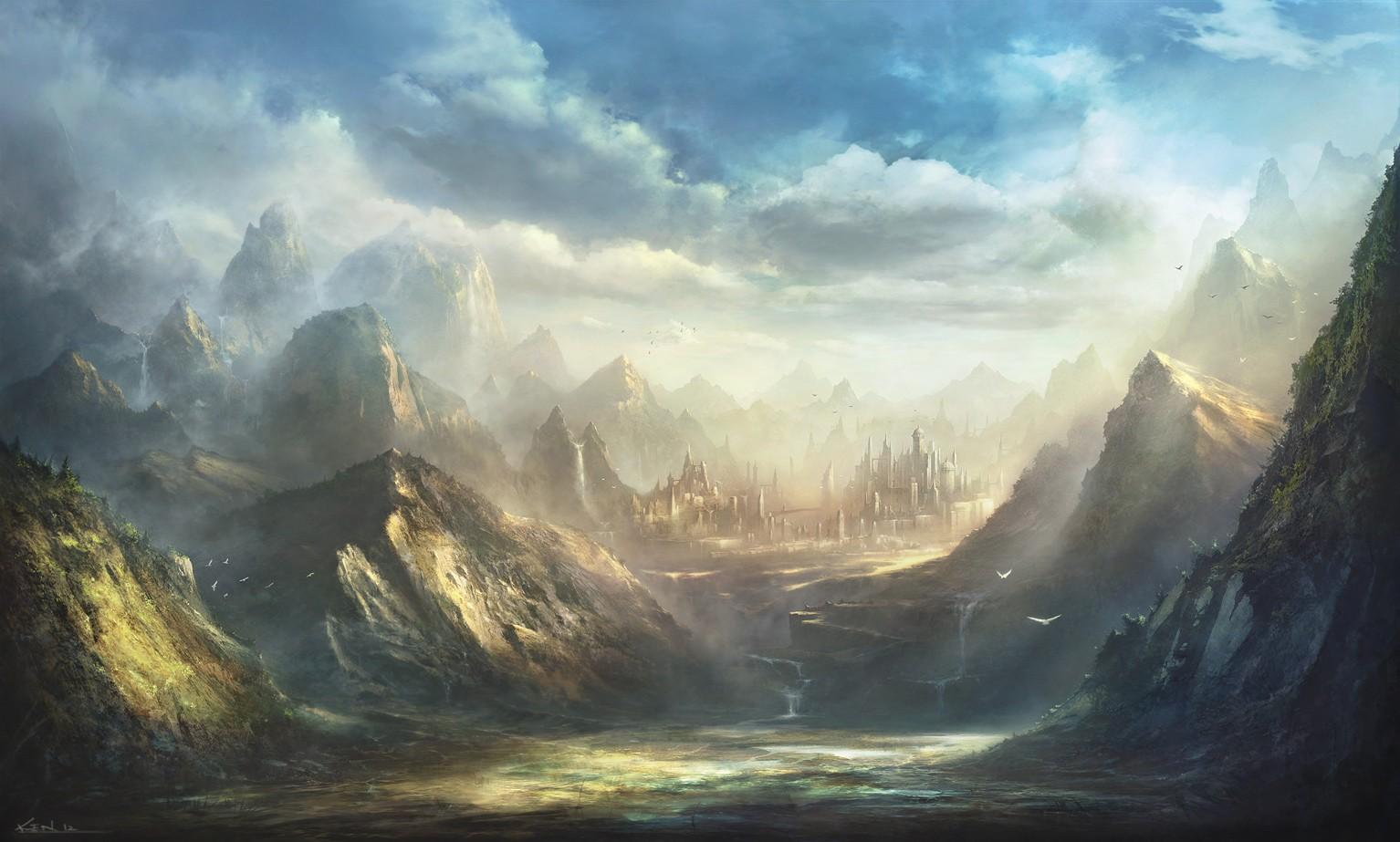 Wallpaper : sunlight, mountains, fantasy art, sky, fantasy city, sunrise,  morning, castle, mist, valley, plateau, cloud, fog, dawn, atmospheric  phenomenon, computer wallpaper, mountainous landforms, mountain range  1534x923 - Cryzeen - 34110 - HD ...