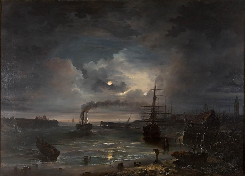 Masaüstü Boyama Tekne Deniz Bulutlar Duman Ay Akşam Sabah