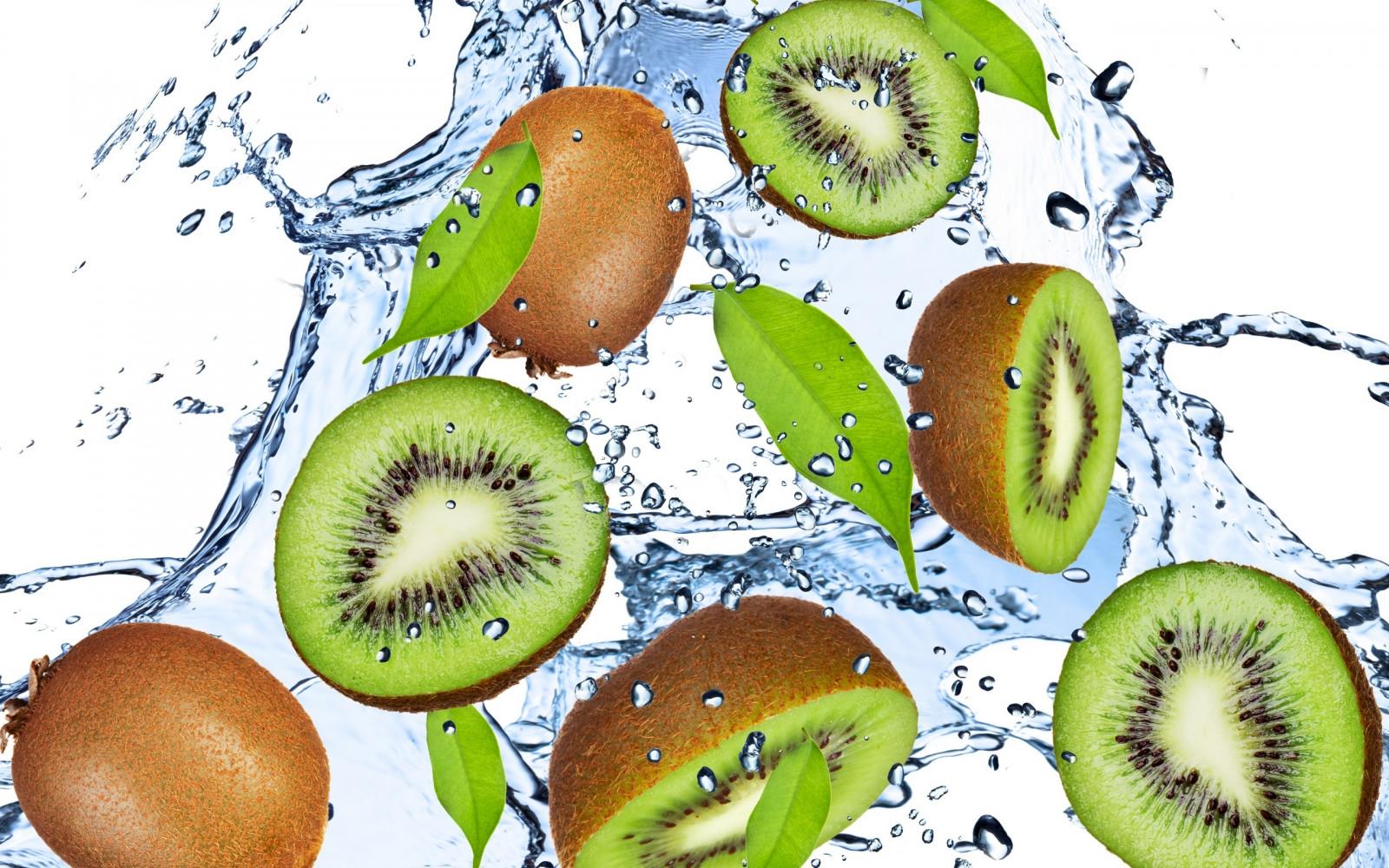 fruit, kiwi fruit, green, water, drops, sprays, freshness