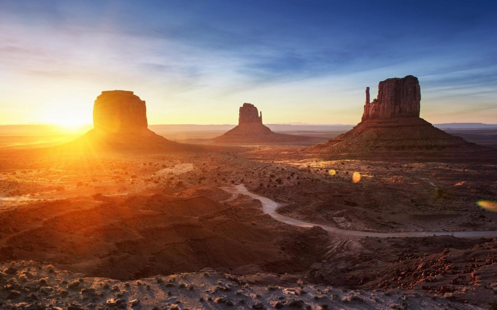 デスクトップ壁紙 日光 風景 日没 日の出 朝 砂漠 汚れの道