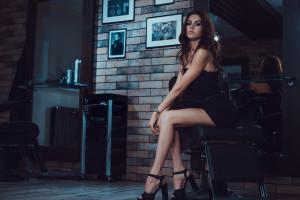 Wallpaper Black Dress High Heels Women With Cars