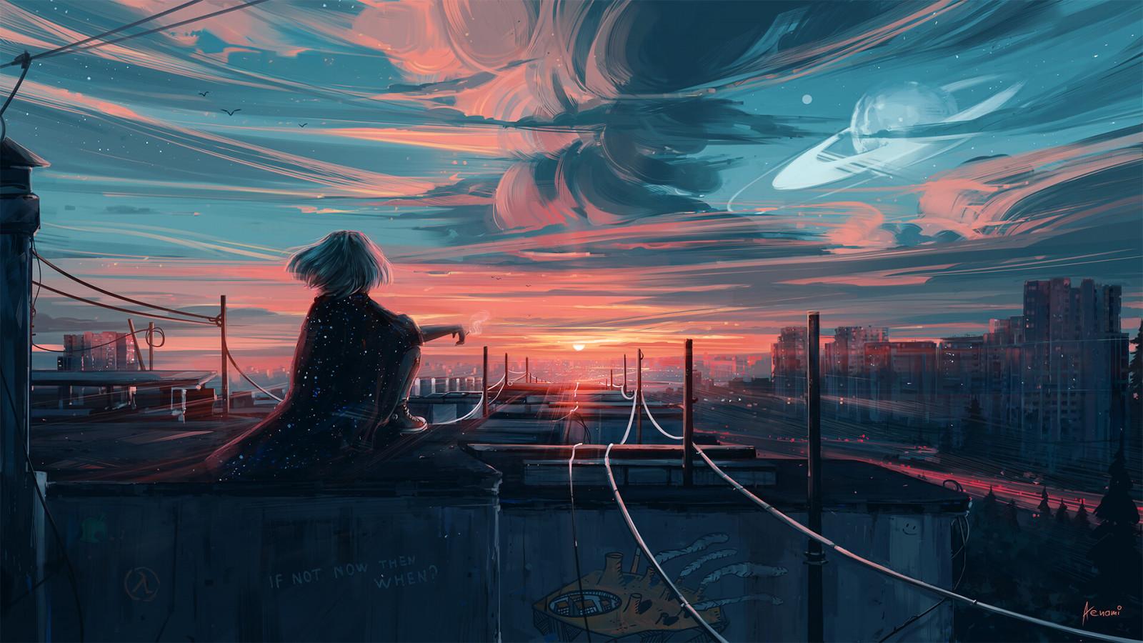 arte digital, Obra de arte, Aenami, ciudad, Paisaje urbano, puesta de sol, cielo, líneas eléctricas, Nubes, luz de sol, horizonte, planeta