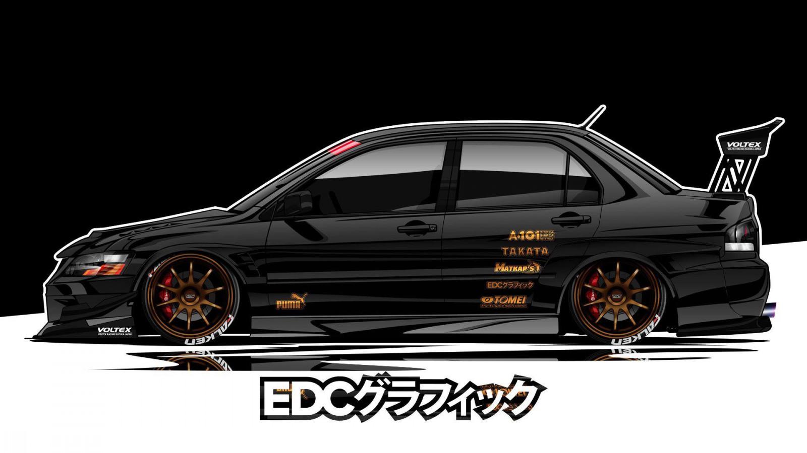 Wallpaper : EDC Graphics, Mitsubishi Lancer Evolution, JDM ...