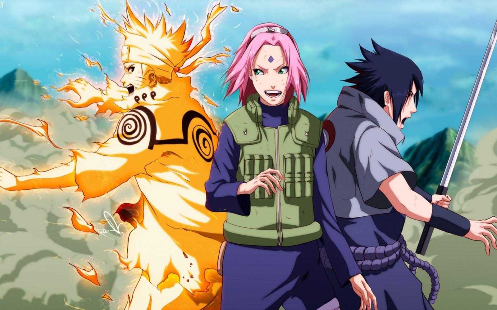 Fond d'écran : illustration, Anime, Manga, Uzumaki Naruto, Haruno Sakura, Uchiha Sasuke, capture ...