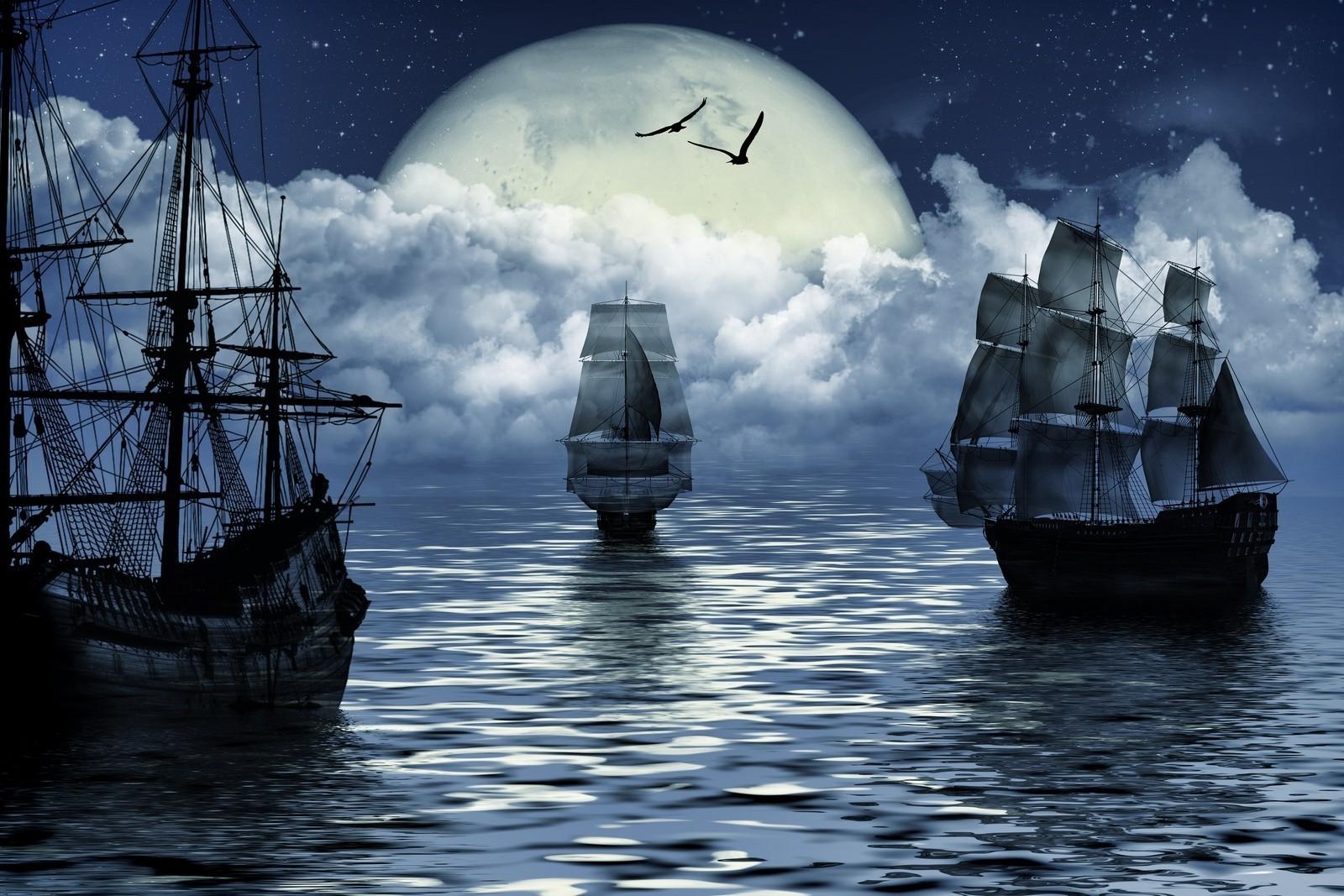 Fond D Ecran Navire Bateau A Voile Des Oiseaux Art Fantastique Mer Rendre Reflexion Vehicule Des Nuages Lune Bateau Fantome Nuage Ocean Motomarine 1600x1067 Px 1600x1067 Wallup 516659 Fond D Ecran Wallhere
