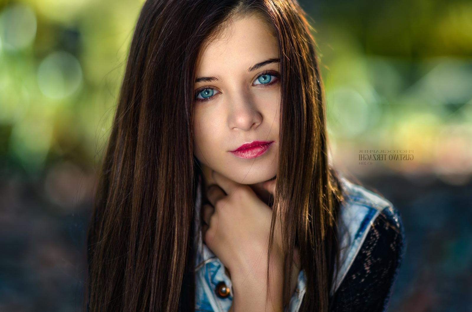 Wallpaper Face Women Model Long Hair Blue Eyes: Wallpaper : Face, Women, Model, Depth Of Field, Straight