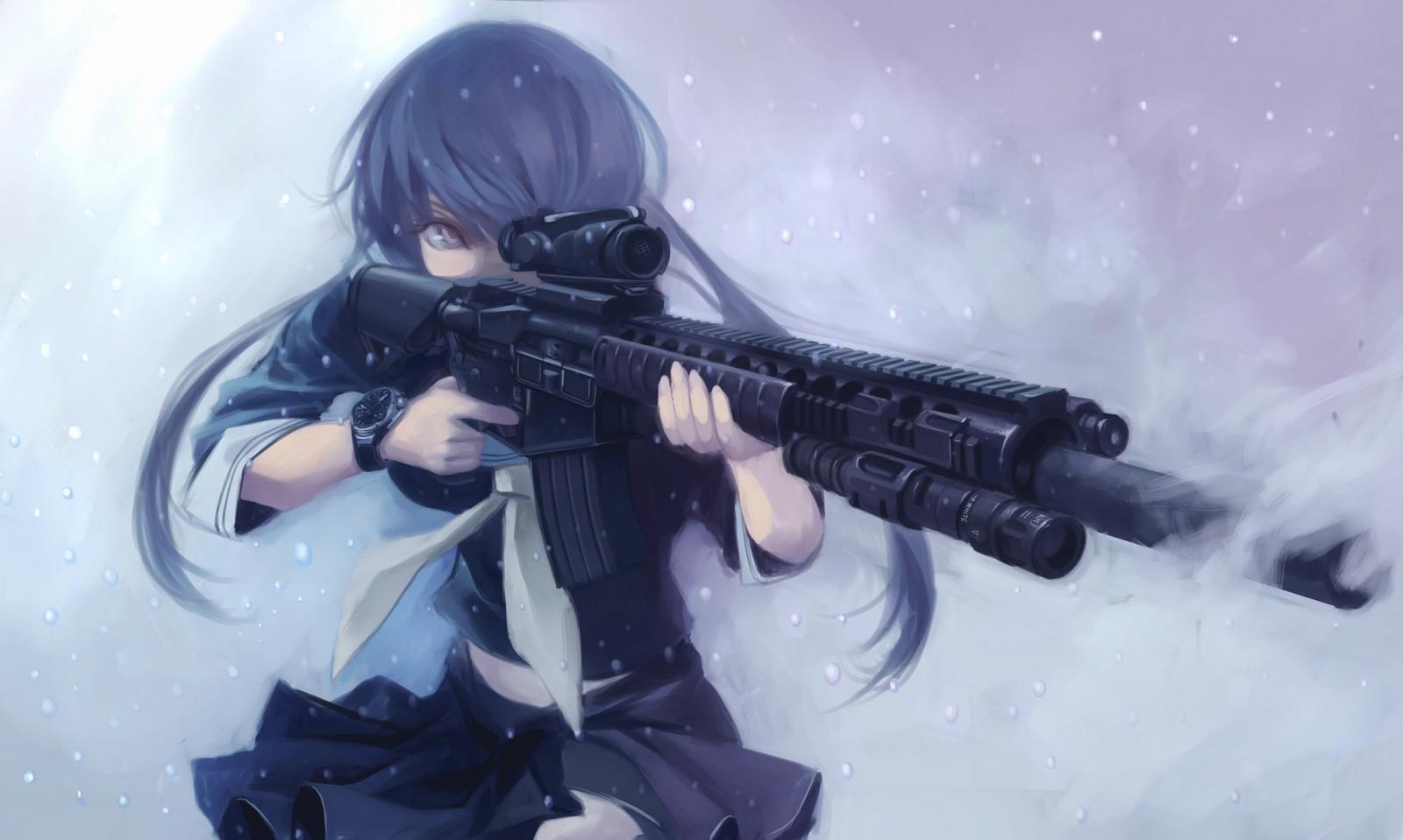 Картинки девушек с оружием из аниме, поздравления