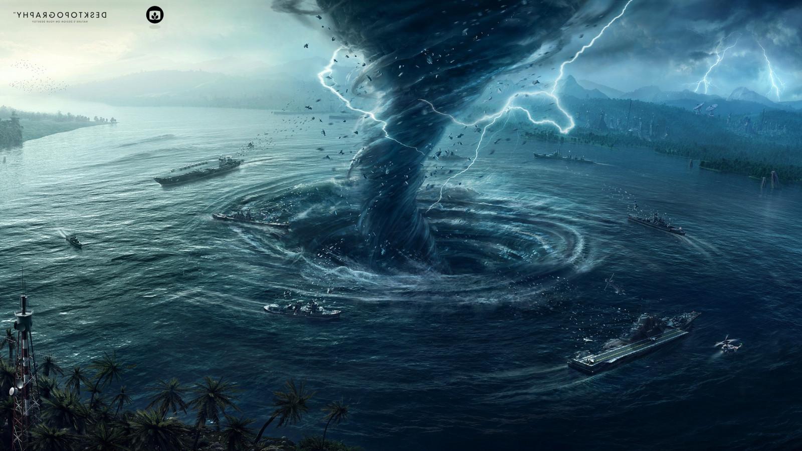Wallpaper : digital art, sea, water, Earth, tornado, hurricane, Desktopography, Natural Disaster, ghost ship, Terrain, weather, ocean, screenshot, ...