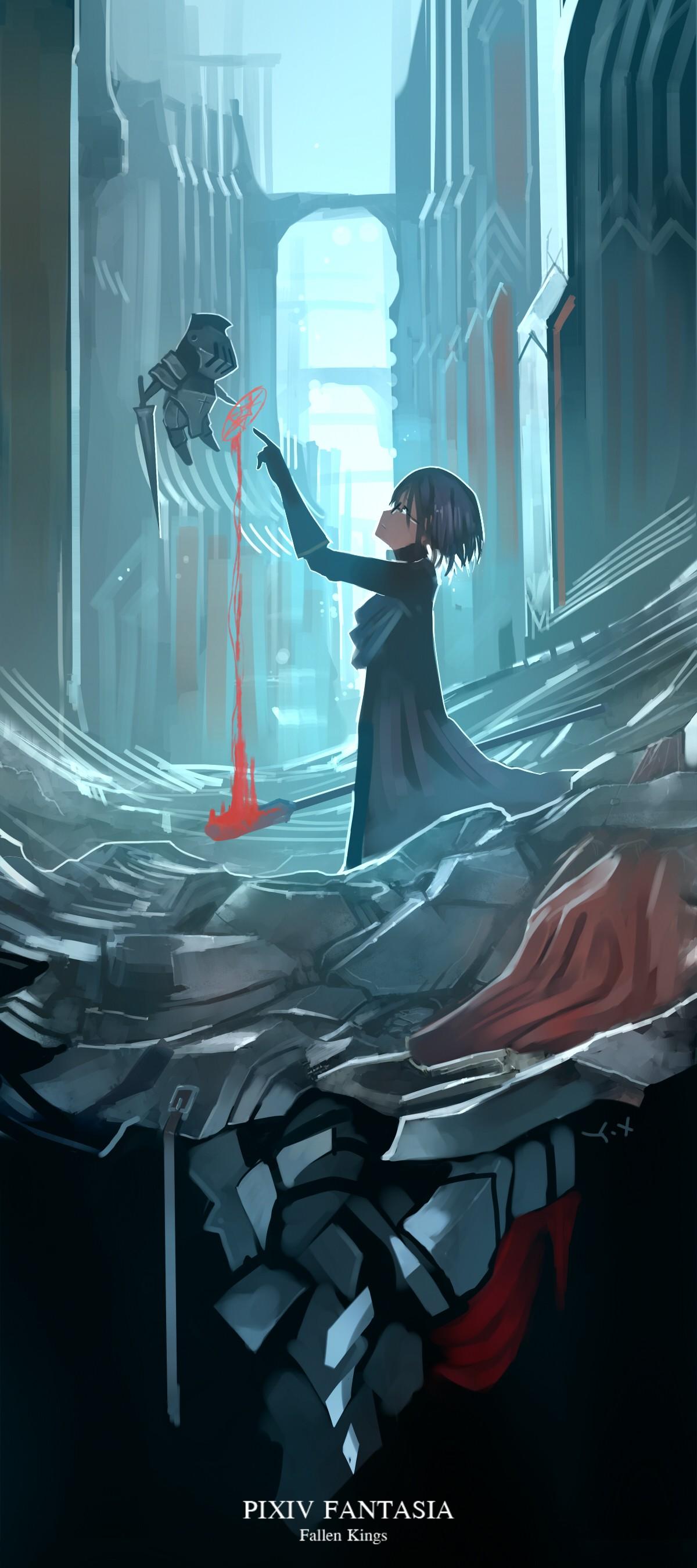 デスクトップ壁紙 図 アニメの女の子 ショートヘア 眼鏡 武器 血液 ピクシヴファンタジア Pixiv Fantasia Fallen Kings スクリーンショット 架空の人物 10x2700 Radlet デスクトップ壁紙 Wallhere