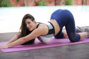 Wallpaper Angela White Yoga Pants Bent Over Yoga Mat