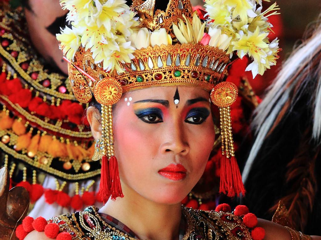 Wallpaper Red People Bali Woman Flower Sexy