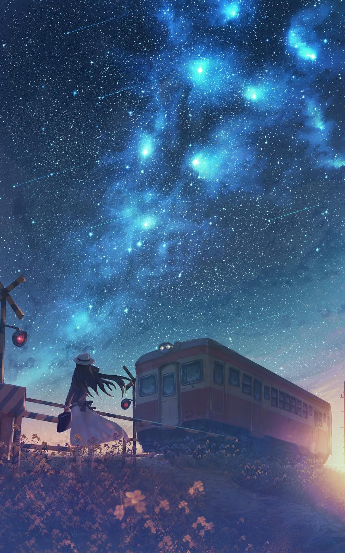 Fond d'écran : Anime, Filles anime, Caractères originaux, nuit étoilée, passage à niveau ...