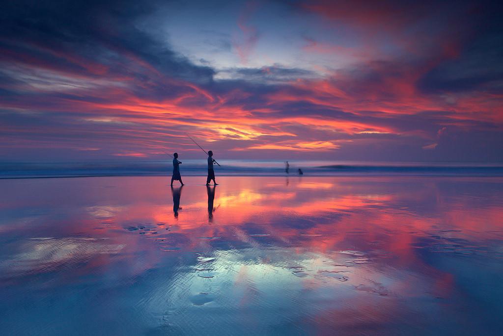 Wallpaper : sunlight, sunset, sea, night, reflection ...