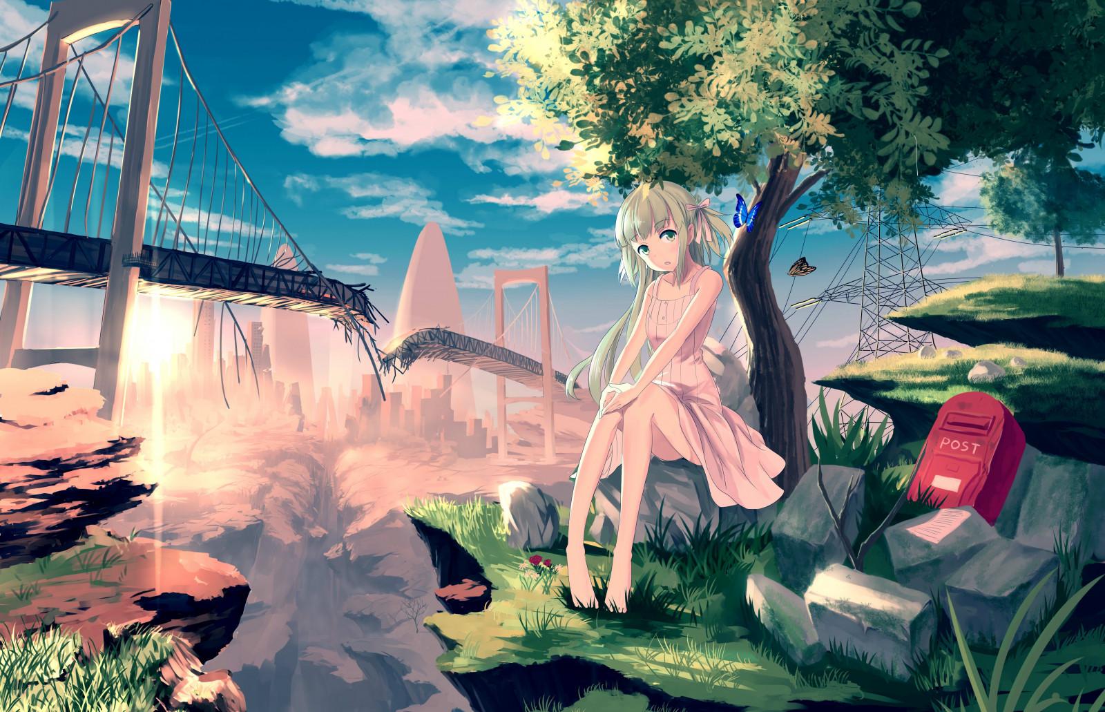 Wallpaper : illustration, long hair, anime girls, brunette