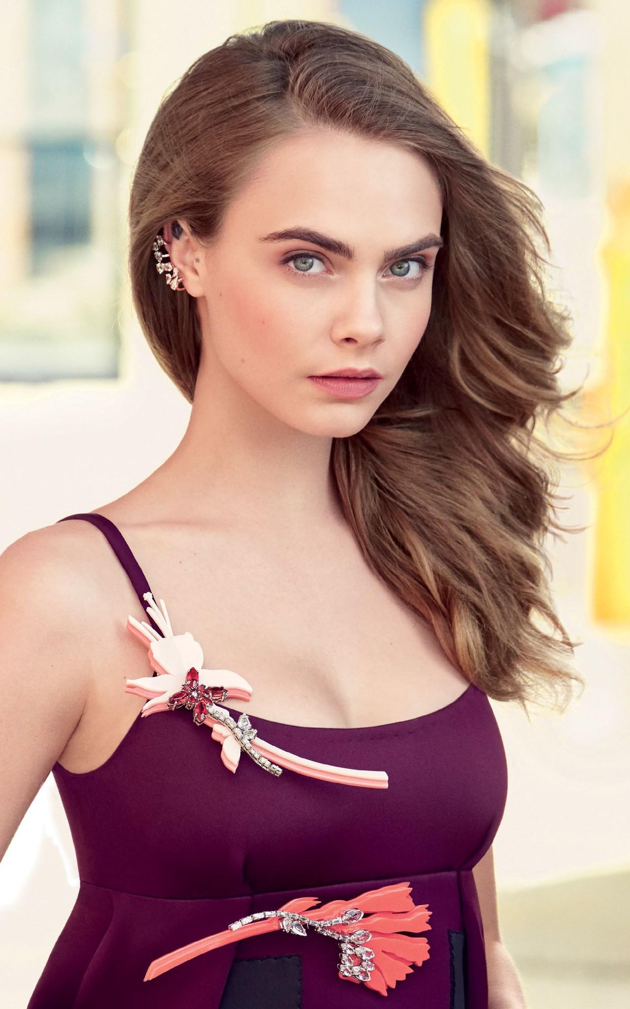 Wallpaper Women Model Long Hair Cara Delevingne Brunette