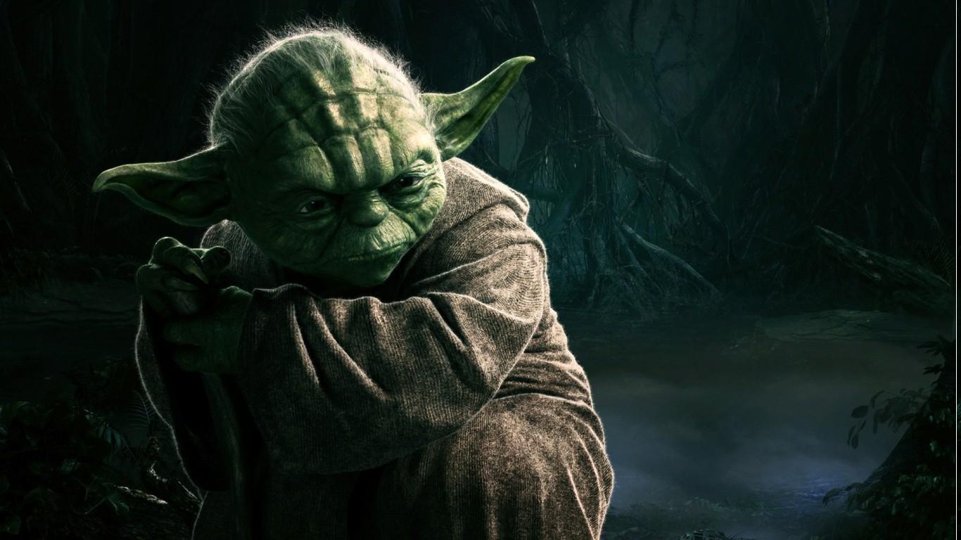 Wallpaper Star Wars Green Yoda Midnight Tree Darkness