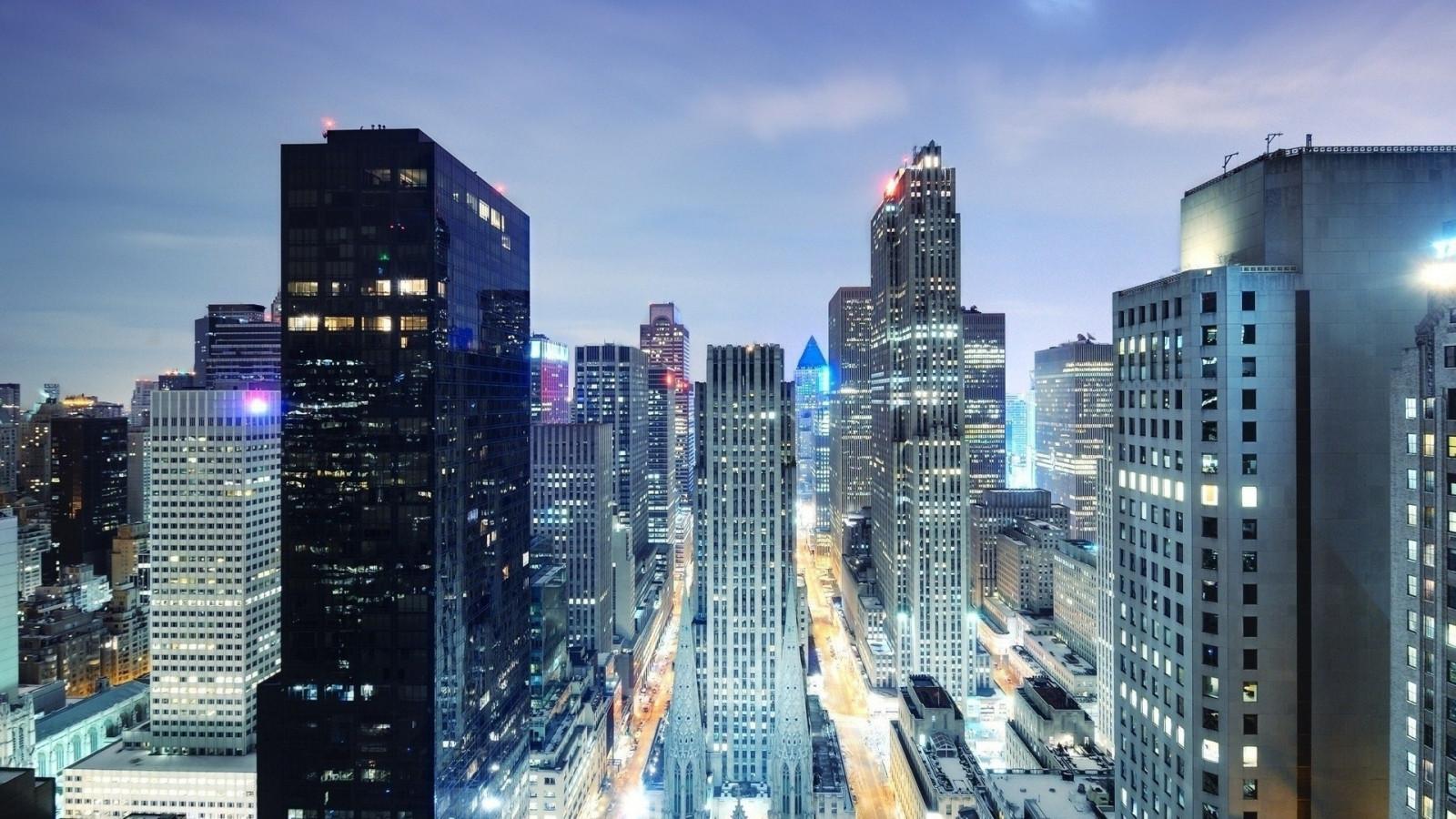 Sfondi new york notte grattacieli vista dall 39 alto for New york dall alto