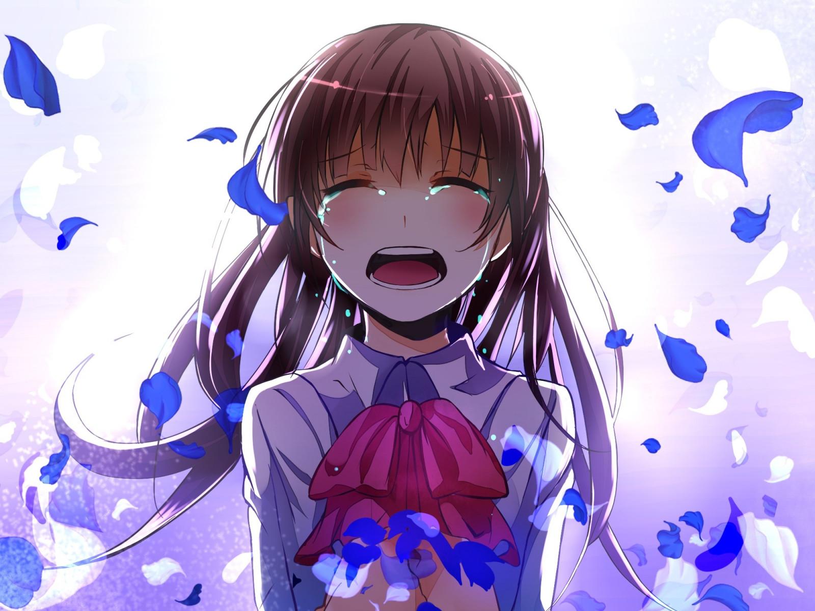 Картинки плачущей девушки аниме