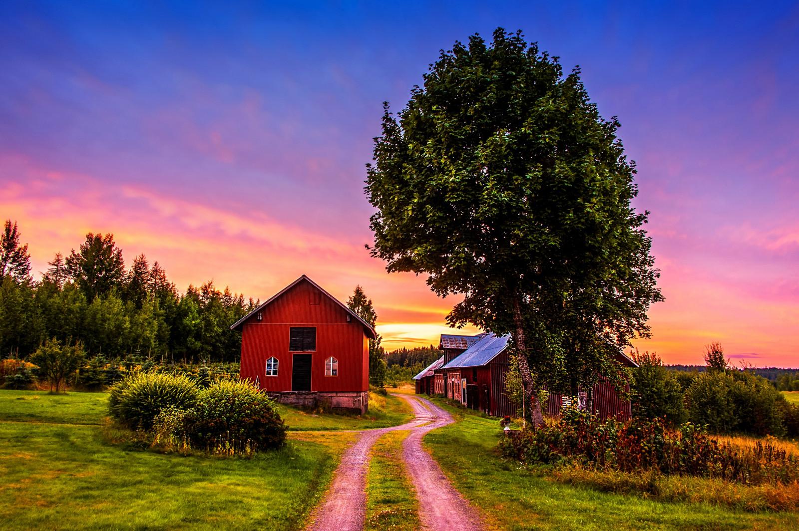 Картинки дом на природе с солнцем, сторона