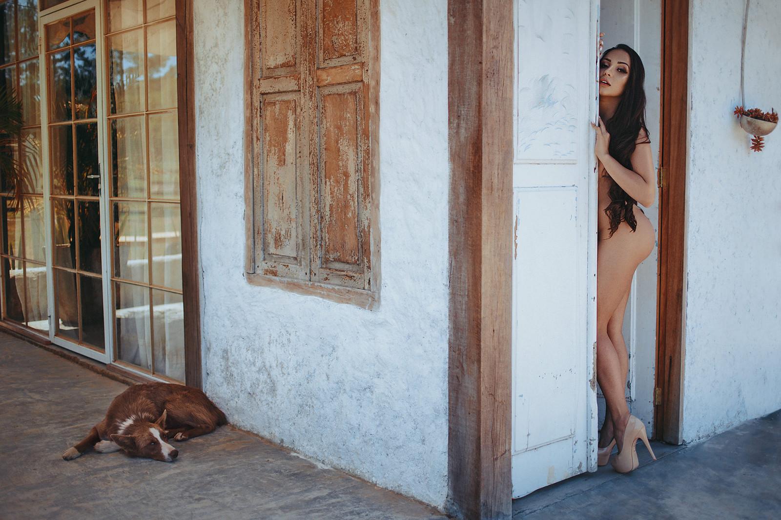 Wallpaper  Brunette, Dog, Women Outdoors, Long Hair, High Heels, Nude, Ass, Legs -1146