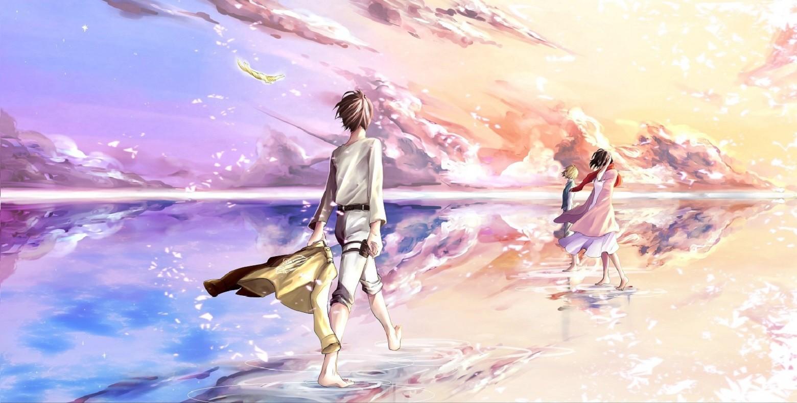 Wallpaper Landscape Illustration Anime Girls Sky Shingeki No Kyojin Eren Jeager Mikasa Ackerman Mythology Armin Arlert Screenshot Computer Wallpaper 1560x790 Jack3571 220956 Hd Wallpapers Wallhere