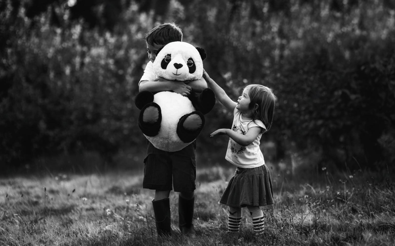 fond d 39 cran fille gar on enfant enfants noir blanc monochrome panda c lin jouet. Black Bedroom Furniture Sets. Home Design Ideas