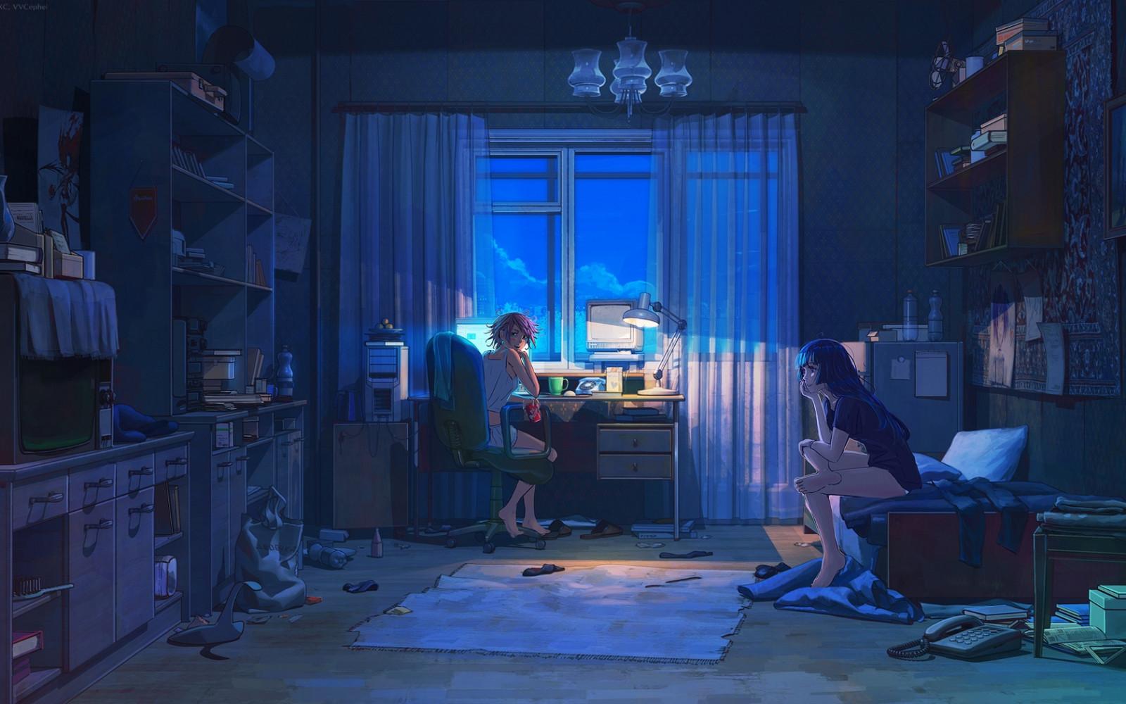 Fondos de pantalla noche habitaci n azul l mpara computadora televisi n estanter a - Lampara estanteria ...