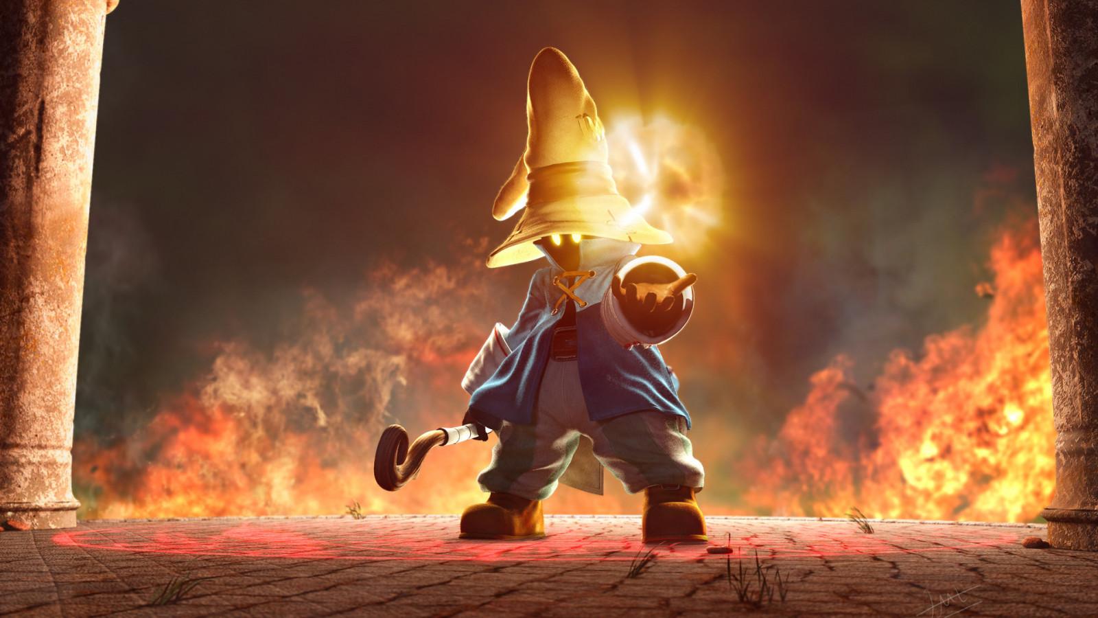 digital art video games artwork fire Final Fantasy Final Fantasy IX Vivi wildfire flame screenshot computer wallpaper stunt performer bonfire