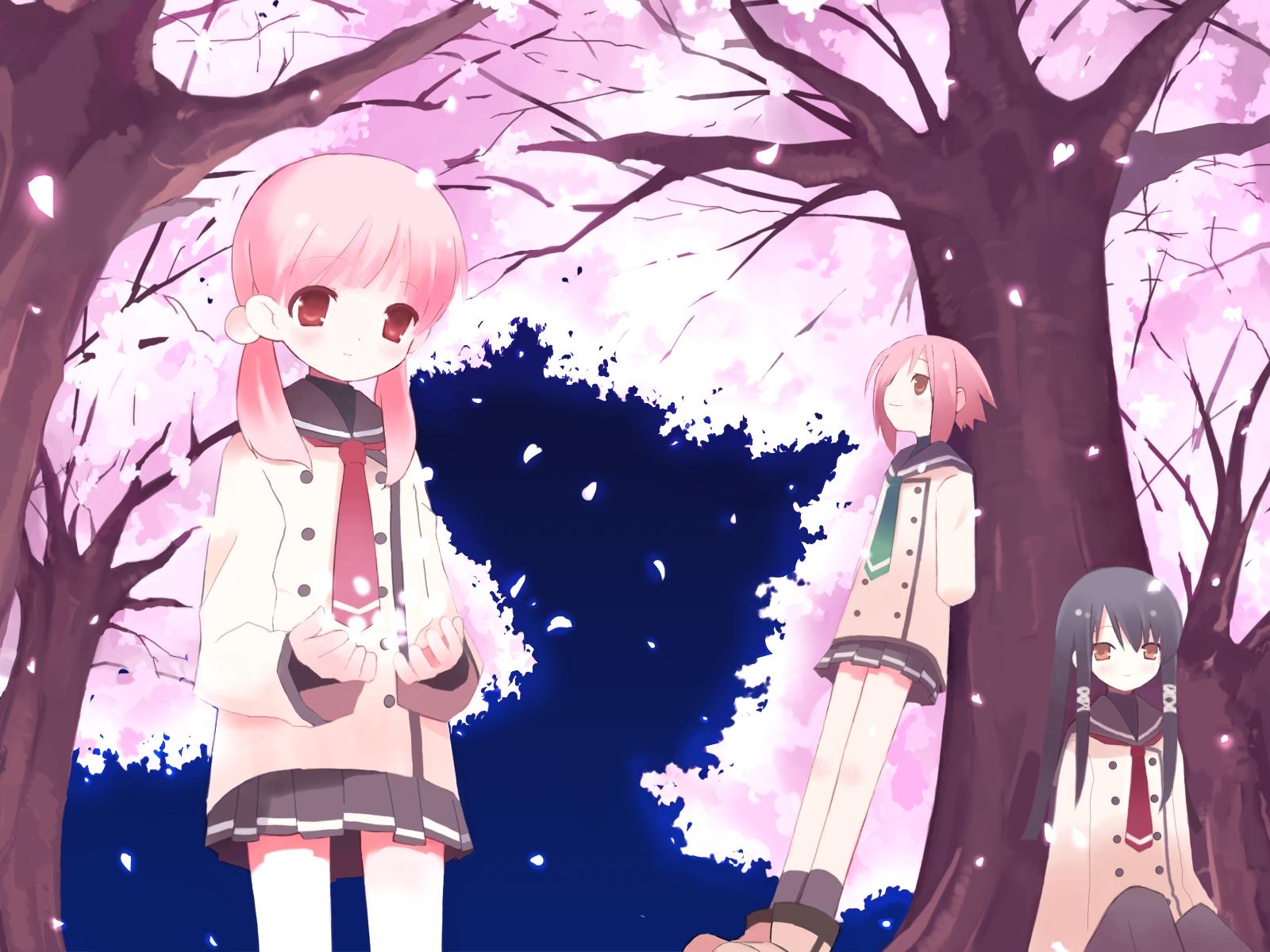 Wallpaper Pohon Ilustrasi Anime Taman Gambar Kartun Rok Dasi