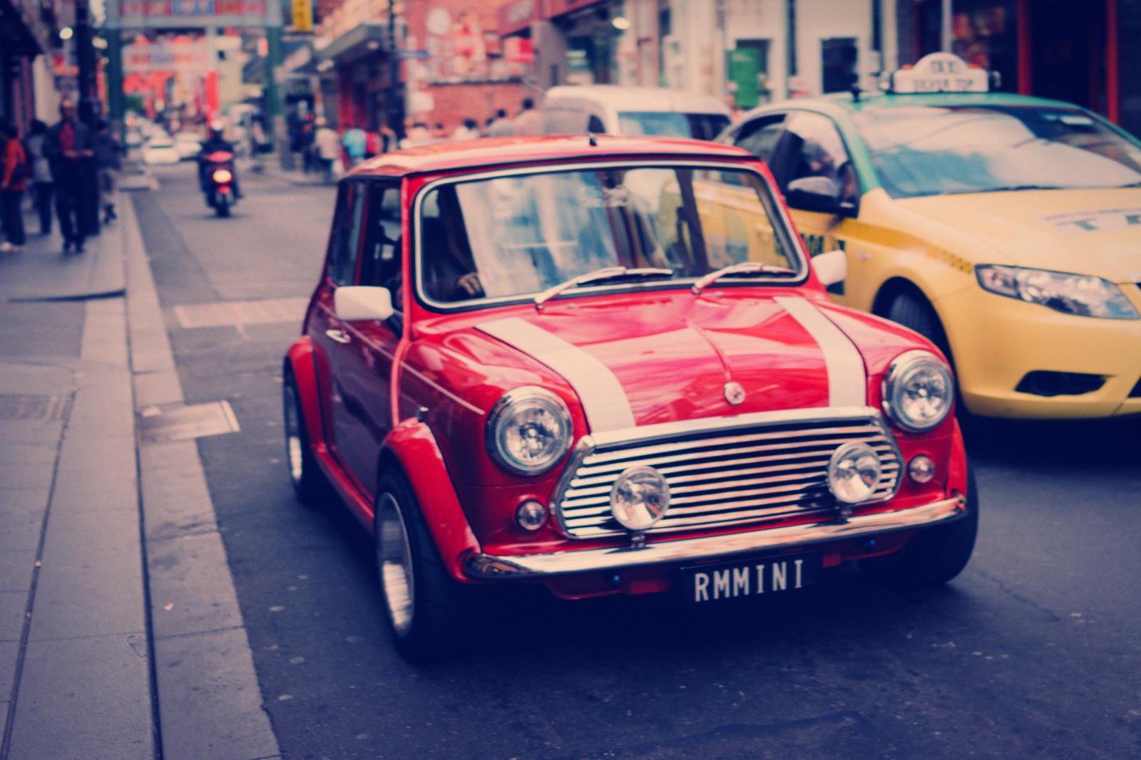 Wallpaper Street Urban Red Vintage Car Mini Cooper Melbourne