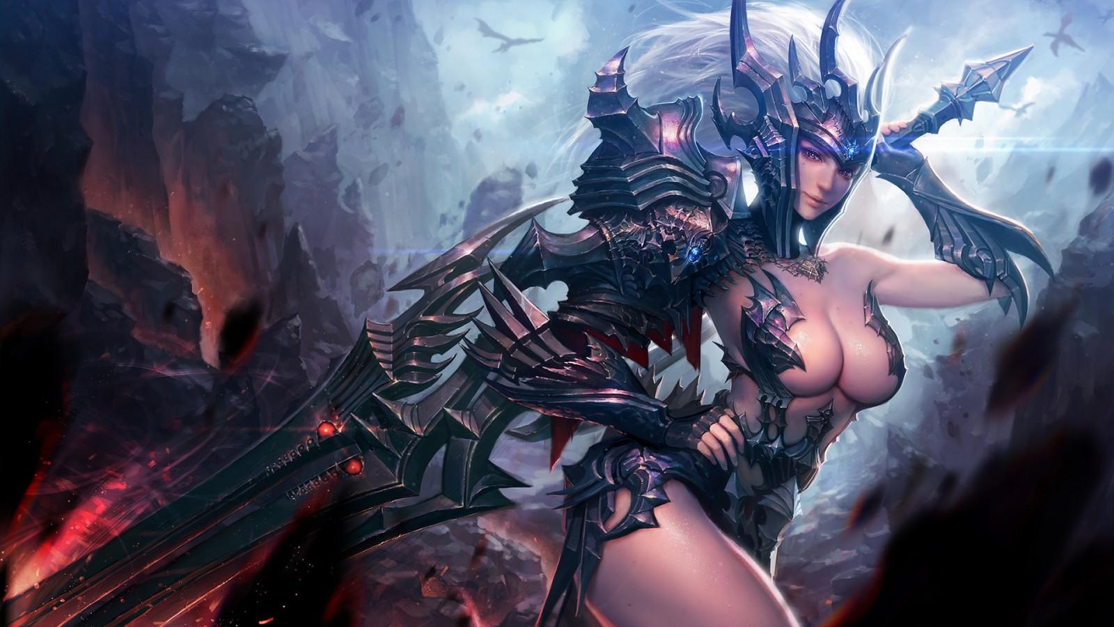 картинки девушек обнажённых и воинов желательно фэнтези