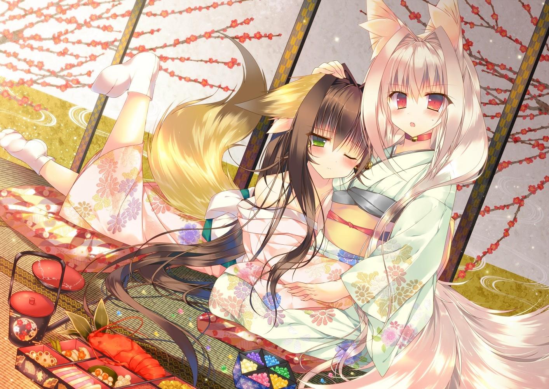 Fond d'écran : illustration, Anime, Filles anime, Fille renard, Kitsunemimi, Caractères ...
