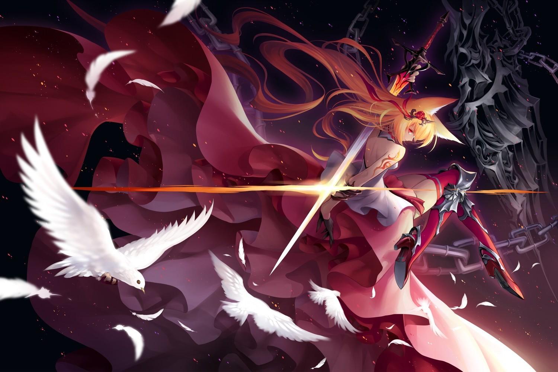 fond d233cran illustration des oiseaux anime filles