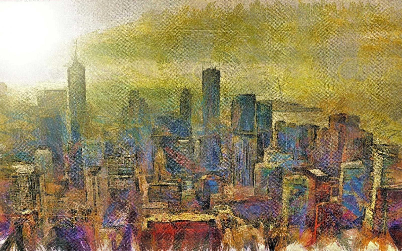 Painting City Cityscape Sky Artwork Skyline ART Ancient History Human Settlement Modern Art Acrylic Paint Watercolor