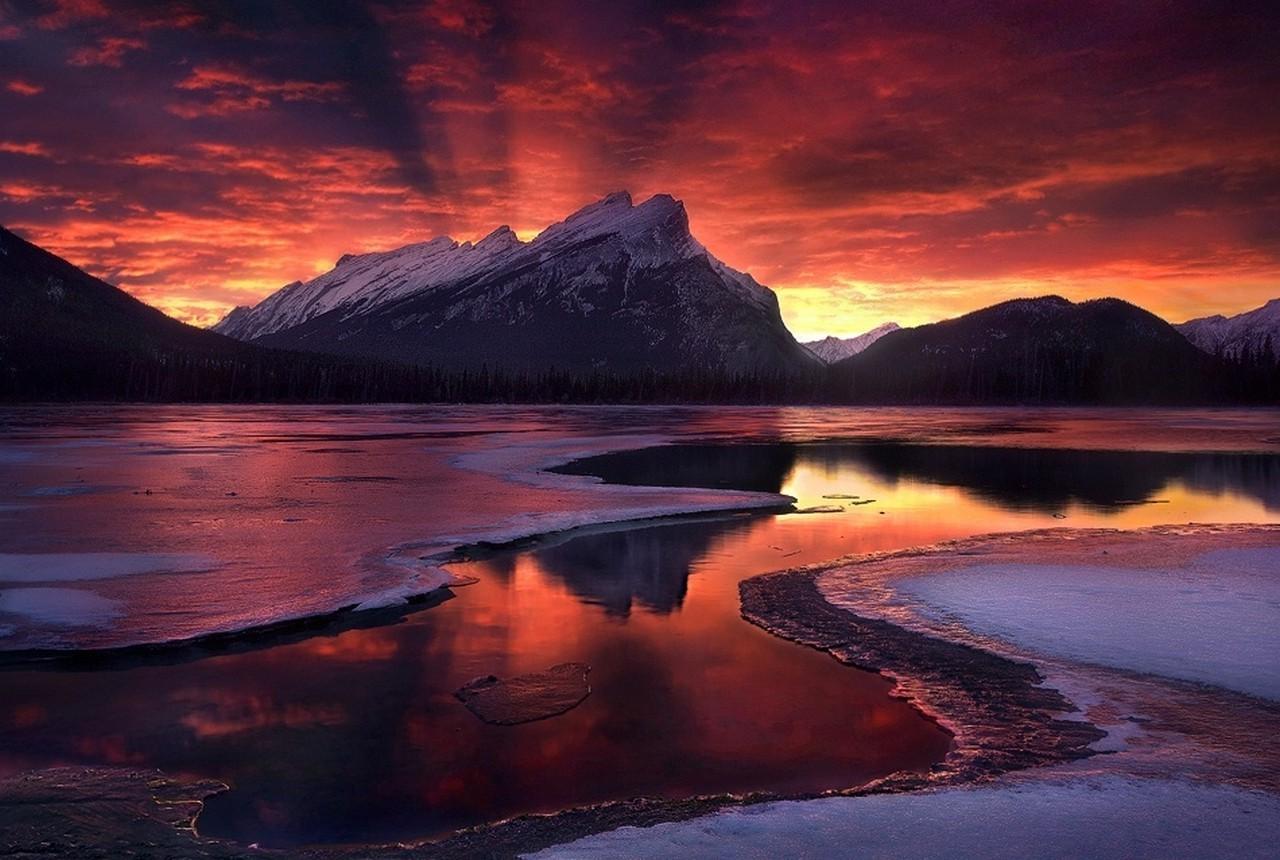Fond d'écran : paysage, forêt, le coucher du soleil, mer, Lac, la nature, réflexion, hiver, des ...
