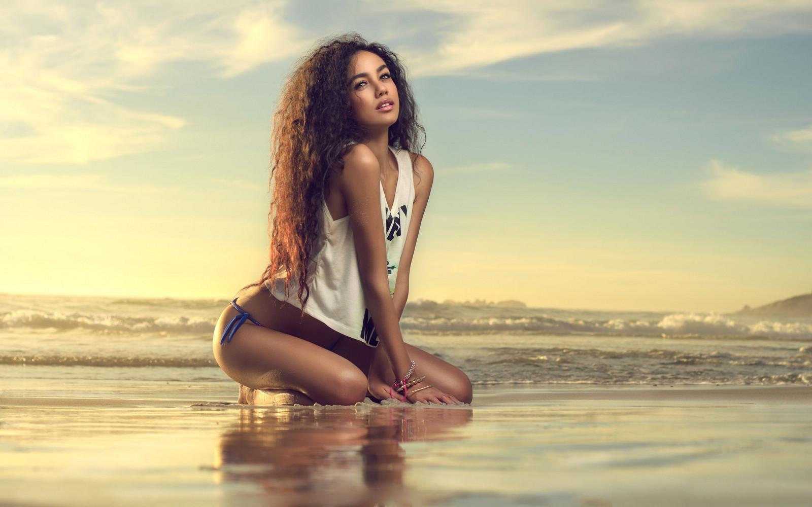 Wallpaper  Sunlight, Women Outdoors, Sea, Long Hair -6869