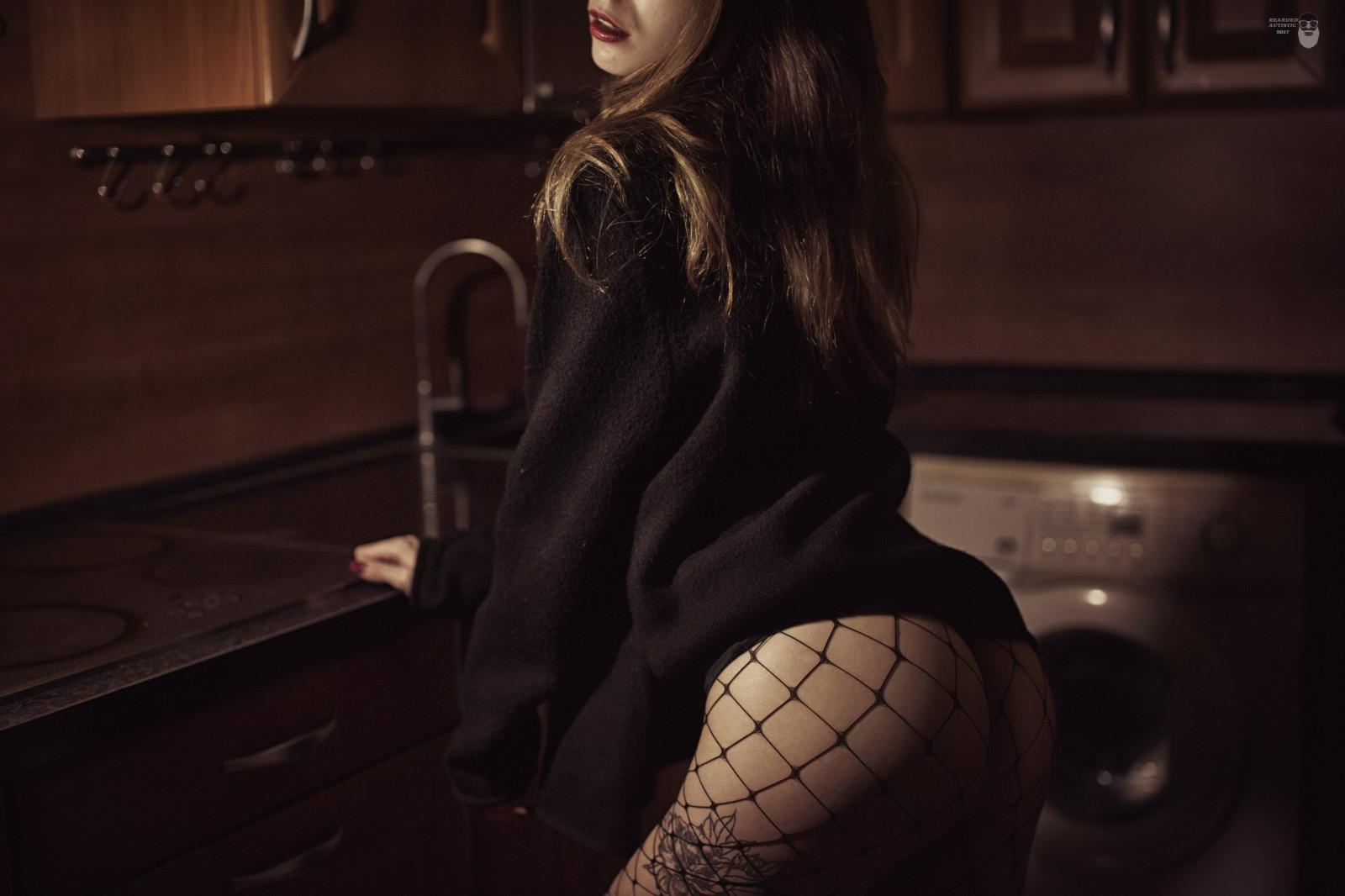 Wallpaper : women, brunette, lingerie, black stockings