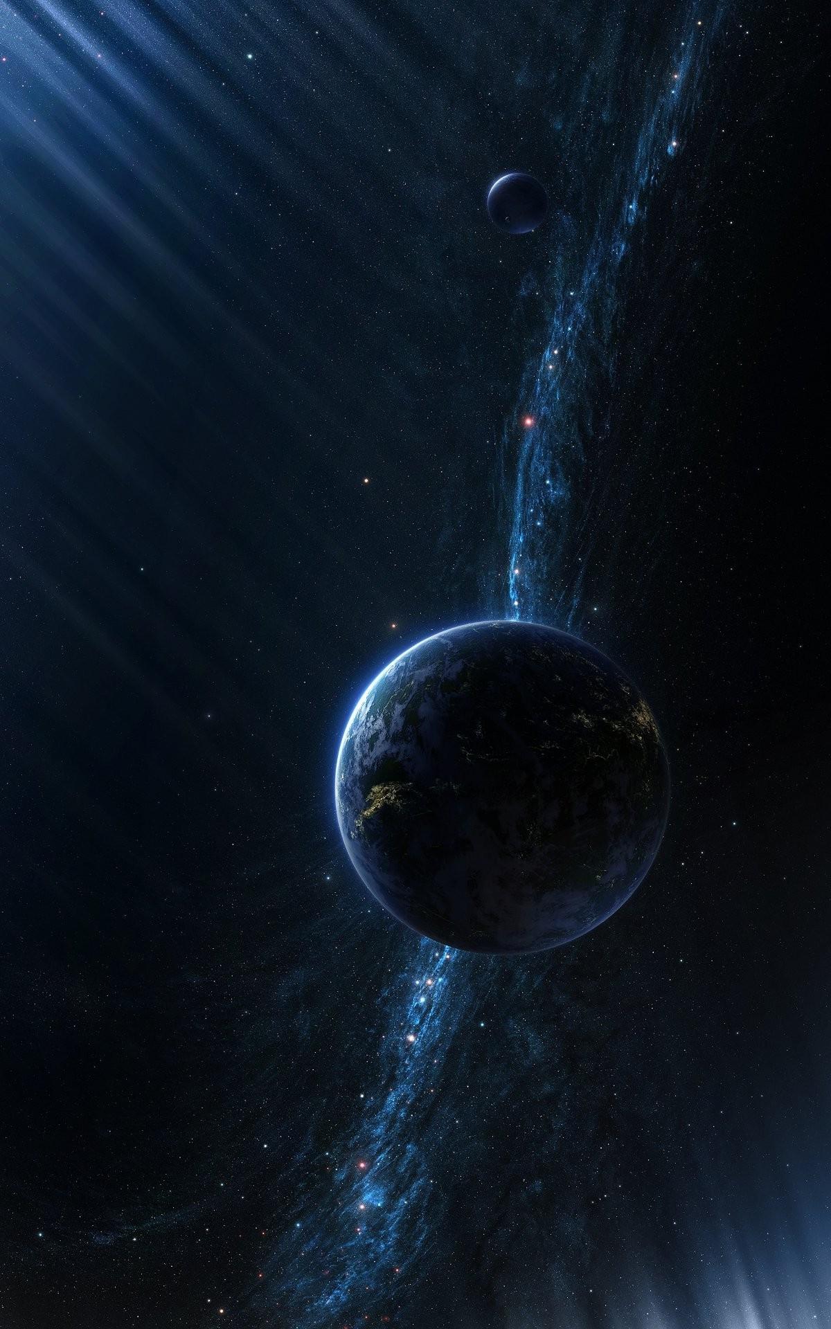 1200x1920 px CGI digital art galaxy Milky Way planet portrait display space stars sun rays universe