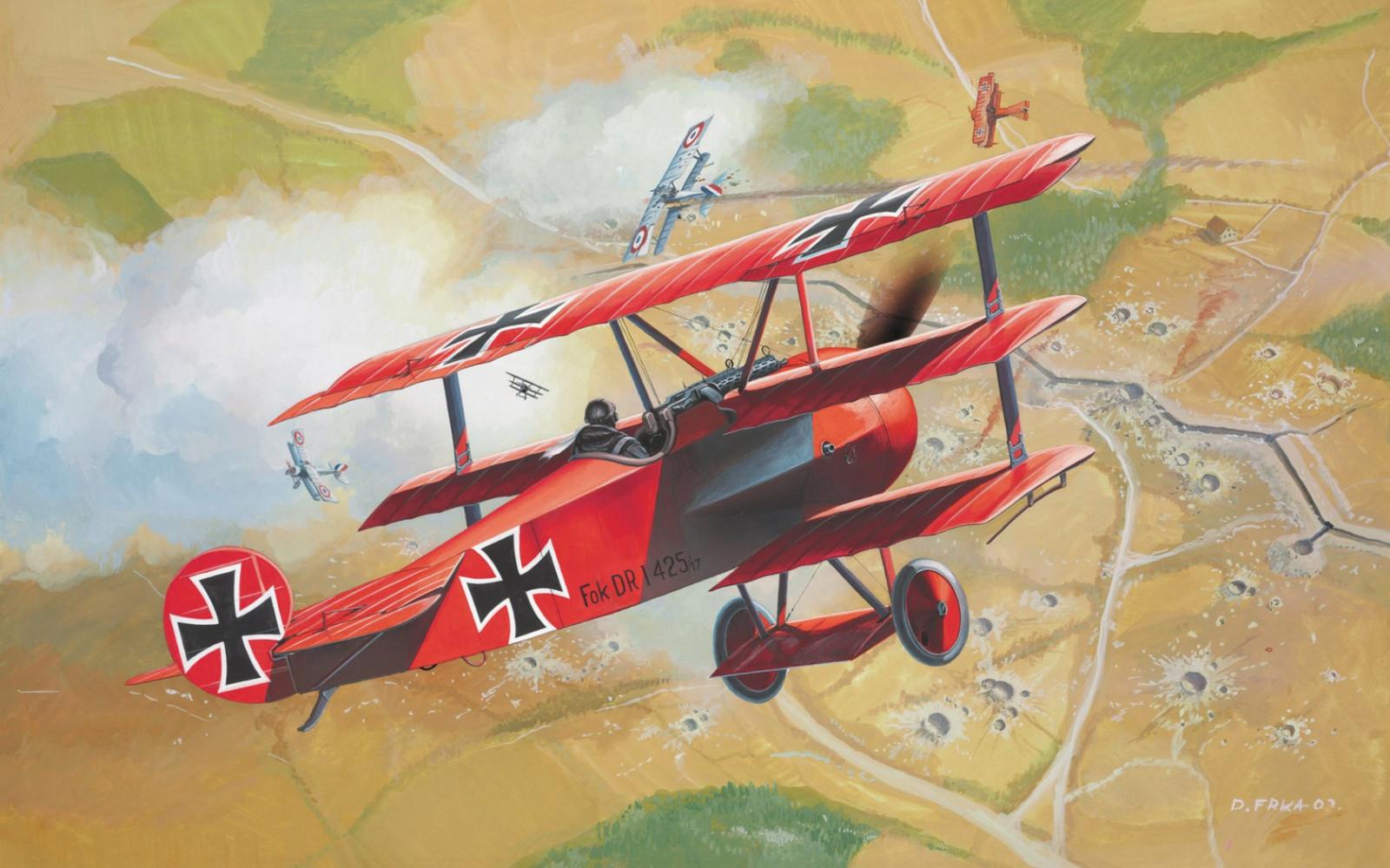 illustration véhicule ouvrages d'art avion avion biplan Tranchées Baron Rouge Luftwaffe Fokker DR 1 Vol aviation aile Atmosphère de la terre
