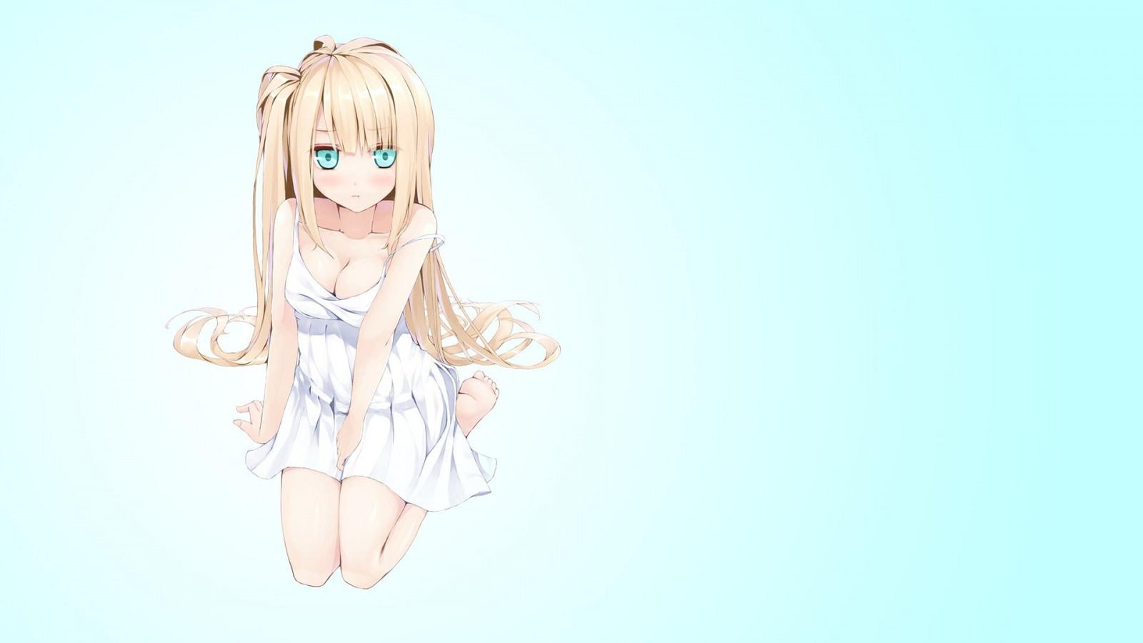 Anime mädchen blaue augen mit blonden pferdeschwänzen aus sim