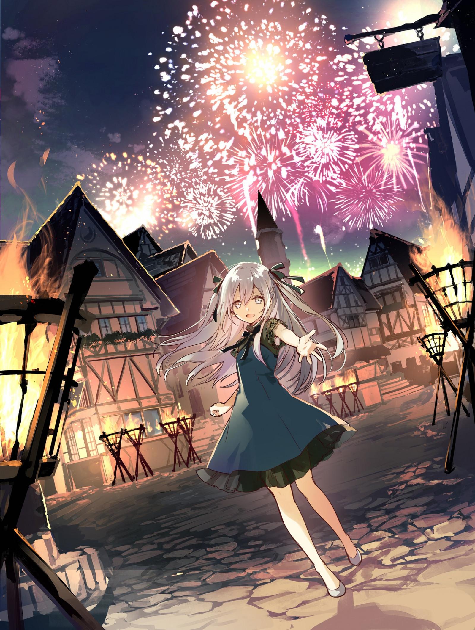 ilustración pelo largo Anime Chicas anime fuegos artificiales pelo canoso ojos grises pueblo ART captura de pantalla