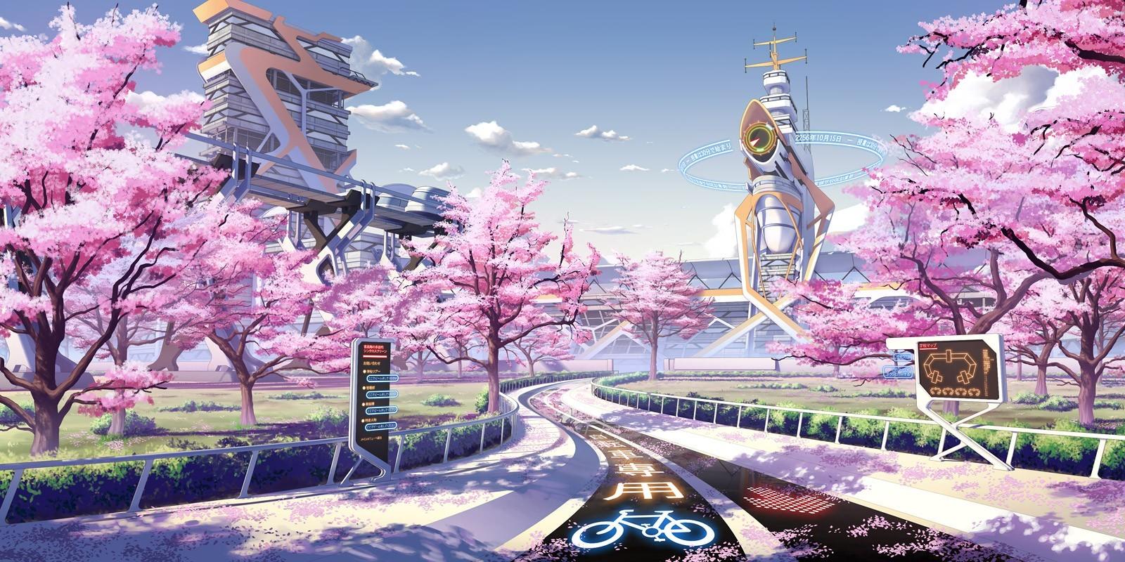 Wallpaper japanische kirschblüten  Hintergrundbilder : Stadtbild, Anime, futuristisch, Jahreszeiten ...