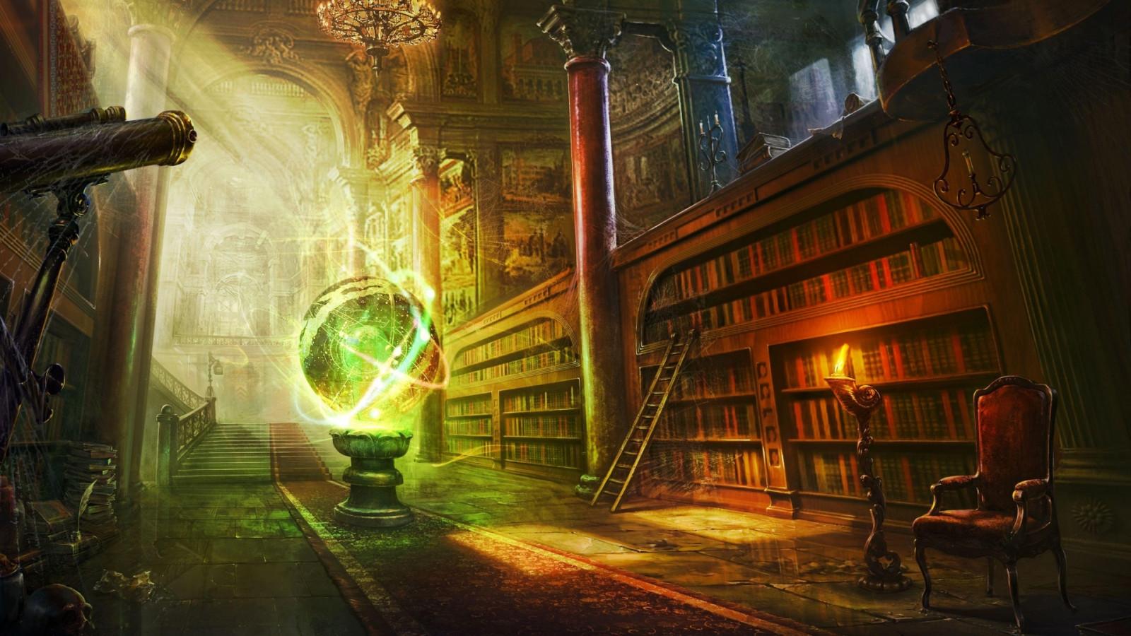 magic castle fantasy art library ball stairs column
