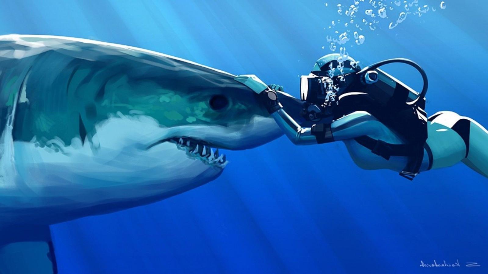 Papel De Parede 1920x1080 Px Playerunknowns: Papel De Parede : Tubarão, Embaixo Da Agua, Grande Tubarão