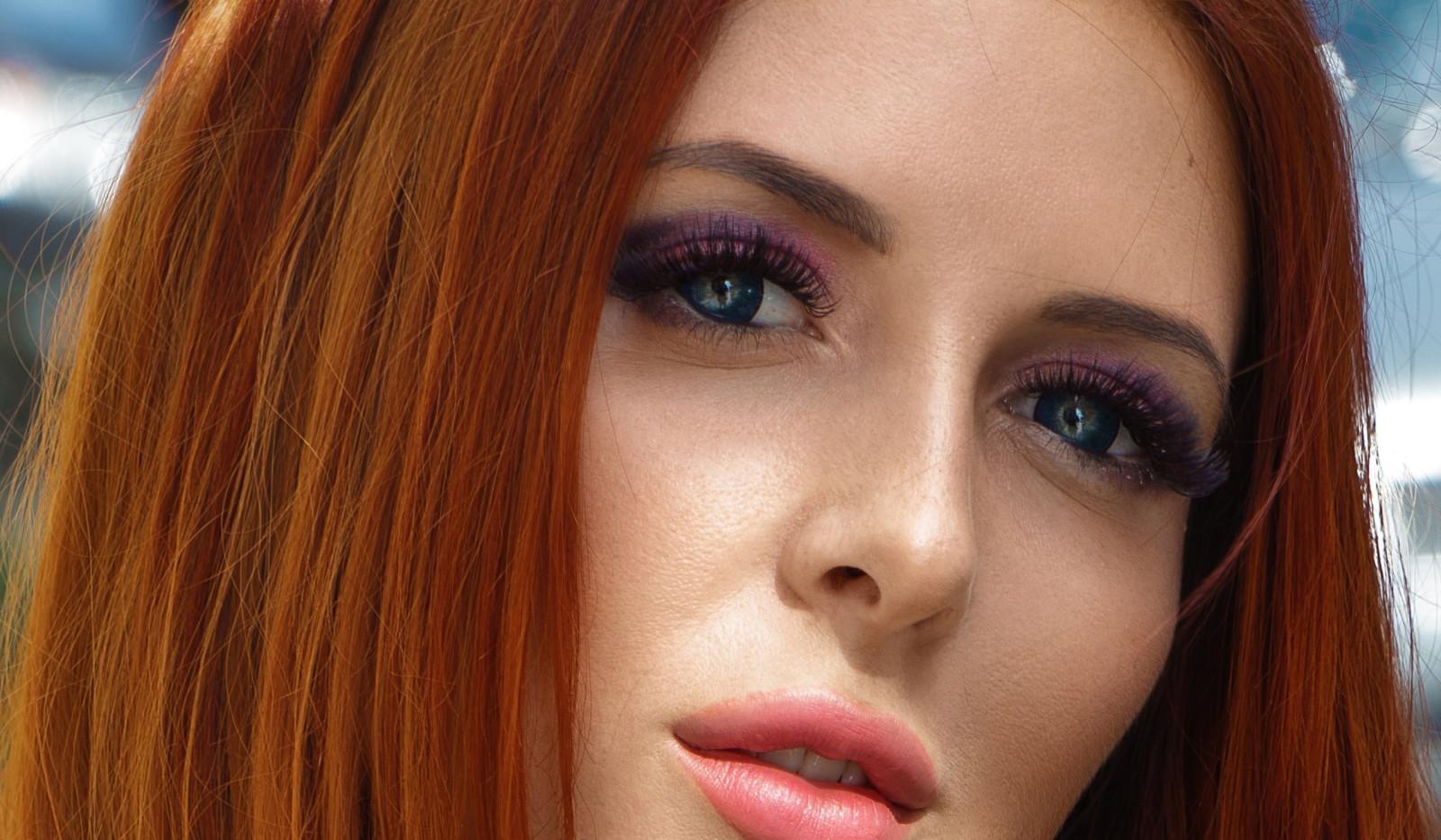Red Lipstick Brown Hair Blue Eyes: Wallpaper : Face, Women, Redhead, Model, Portrait, Long