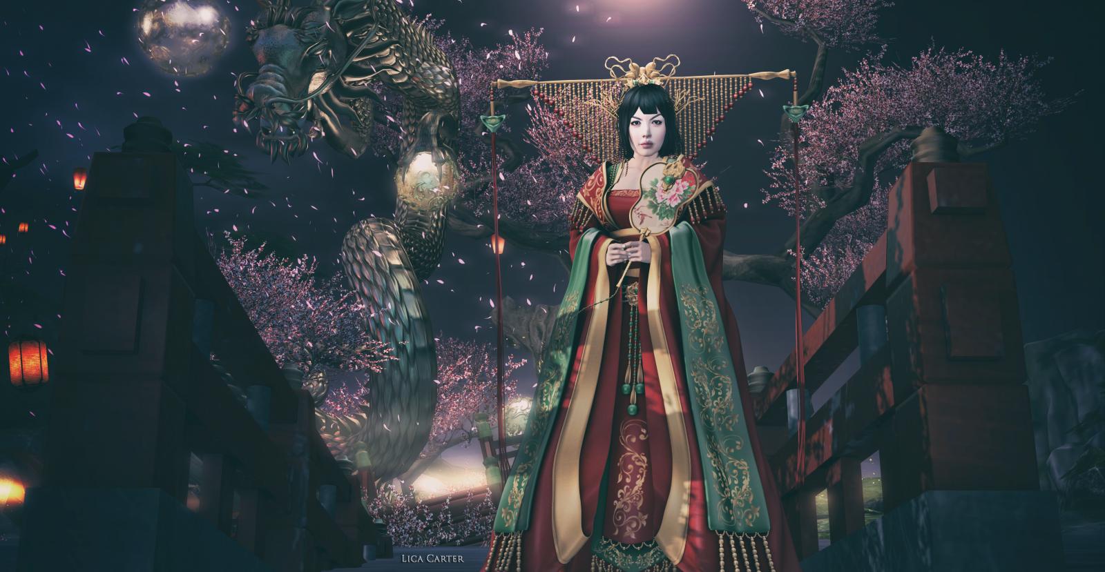 Wallpaper Jepang Wanita Malam 3D Putri Mode Rambut