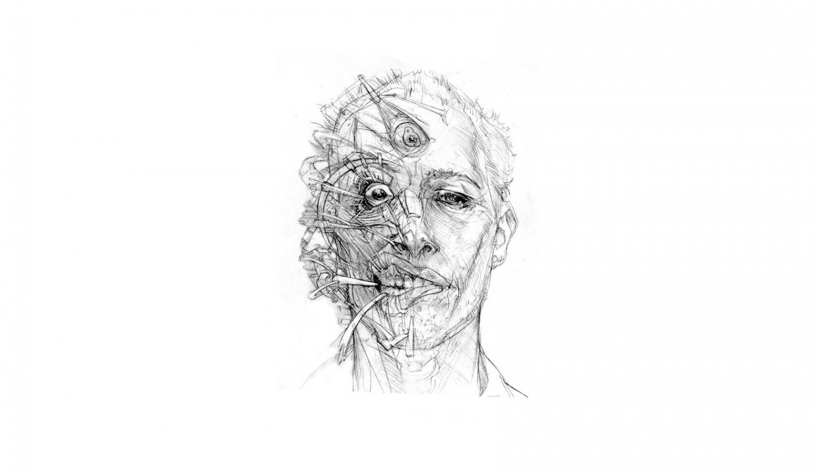Hintergrundbilder : Gesicht, Illustration, einfarbig, Porträt ...